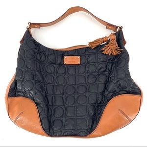 Kate Spade Black Tan Quilted Leather Nylon Hobo Bag